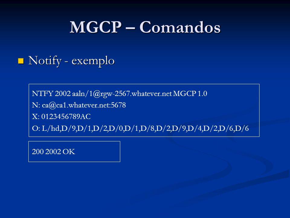 MGCP – Comandos Notify - exemplo