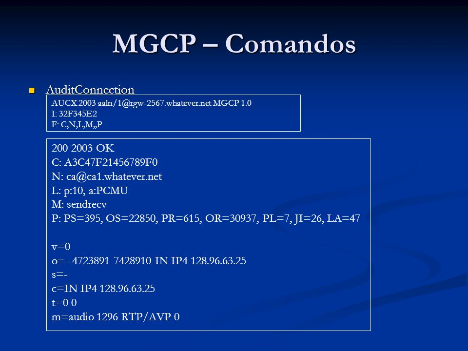 MGCP – Comandos AuditConnection 200 2003 OK C: A3C47F21456789F0