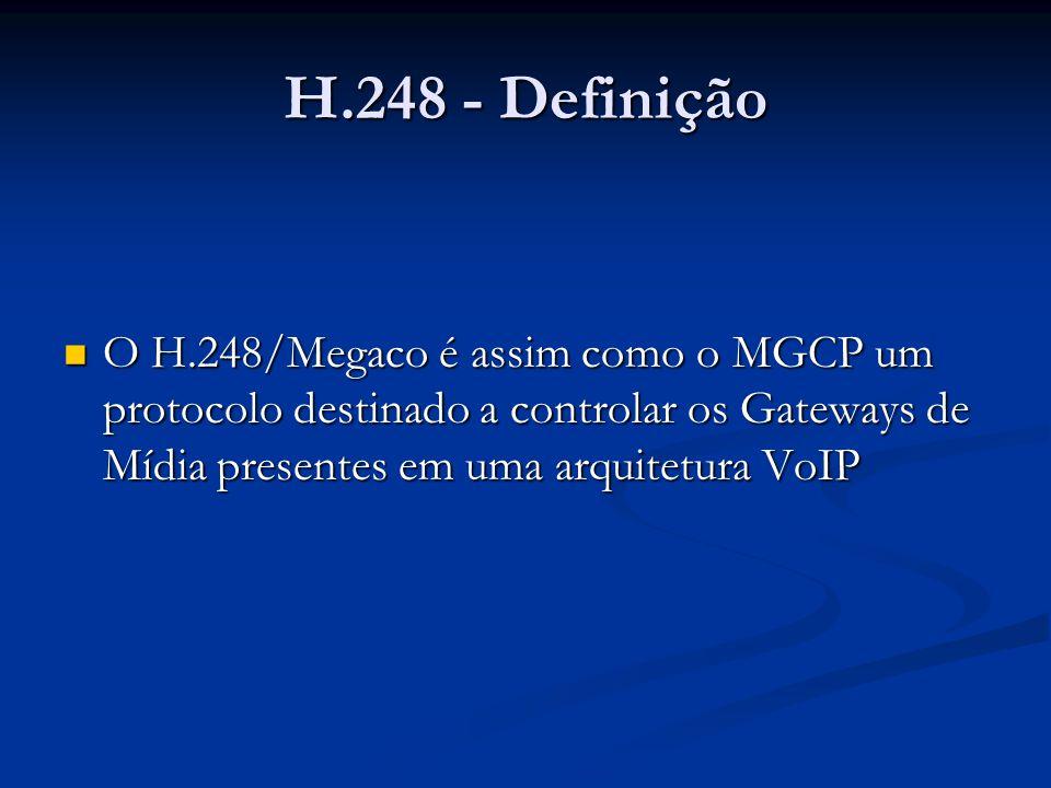 H.248 - Definição O H.248/Megaco é assim como o MGCP um protocolo destinado a controlar os Gateways de Mídia presentes em uma arquitetura VoIP.
