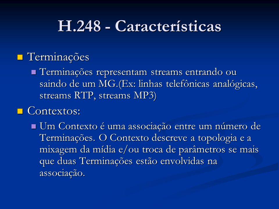 H.248 - Características Terminações Contextos: