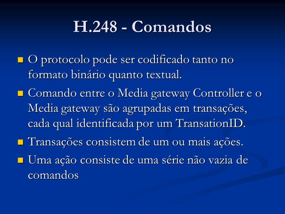 H.248 - Comandos O protocolo pode ser codificado tanto no formato binário quanto textual.