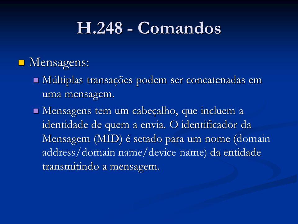 H.248 - Comandos Mensagens: