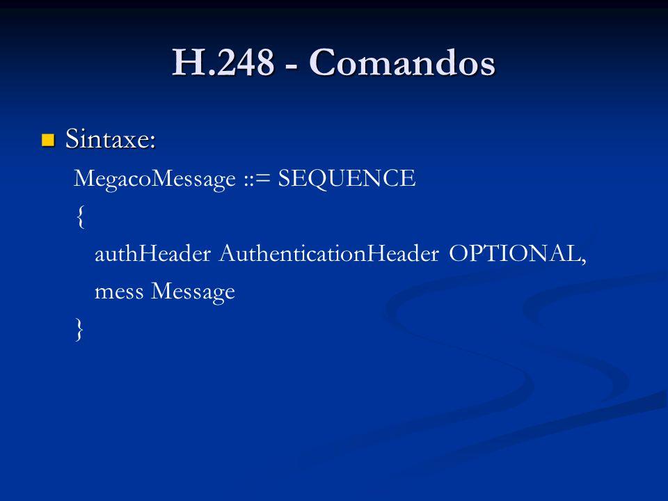 H.248 - Comandos Sintaxe: MegacoMessage ::= SEQUENCE {