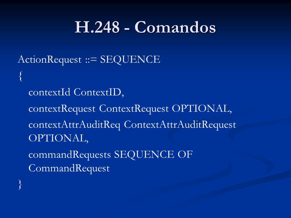 H.248 - Comandos ActionRequest ::= SEQUENCE { contextId ContextID,