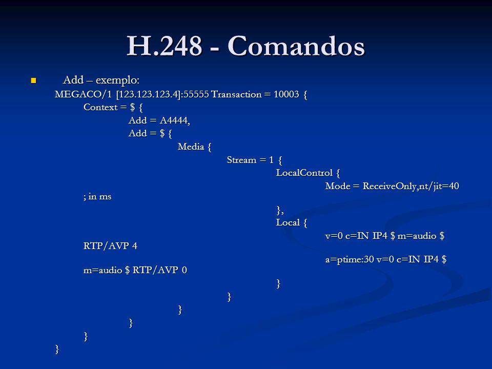 H.248 - Comandos Add – exemplo: