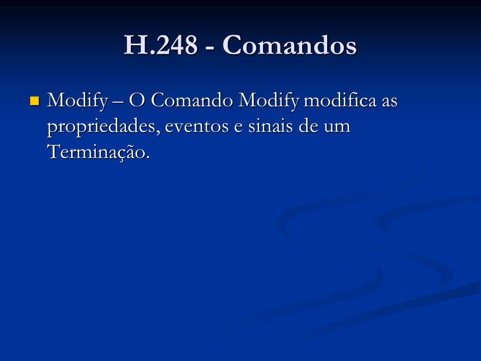 H.248 - Comandos Modify – O Comando Modify modifica as propriedades, eventos e sinais de um Terminação.