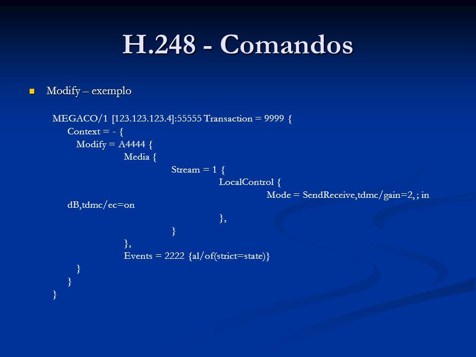 H.248 - Comandos Modify – exemplo