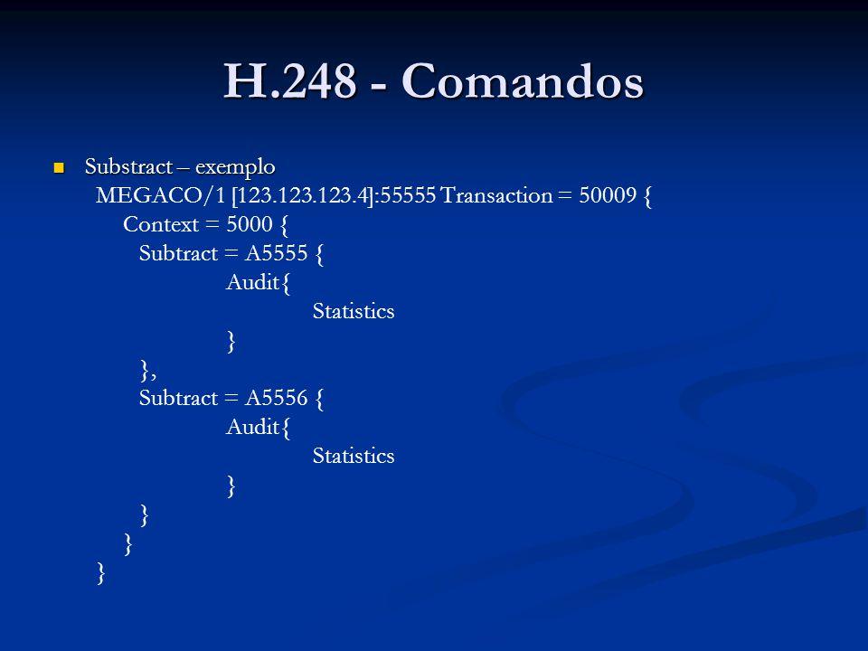 H.248 - Comandos Substract – exemplo