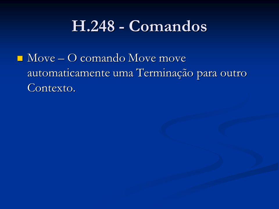H.248 - Comandos Move – O comando Move move automaticamente uma Terminação para outro Contexto.