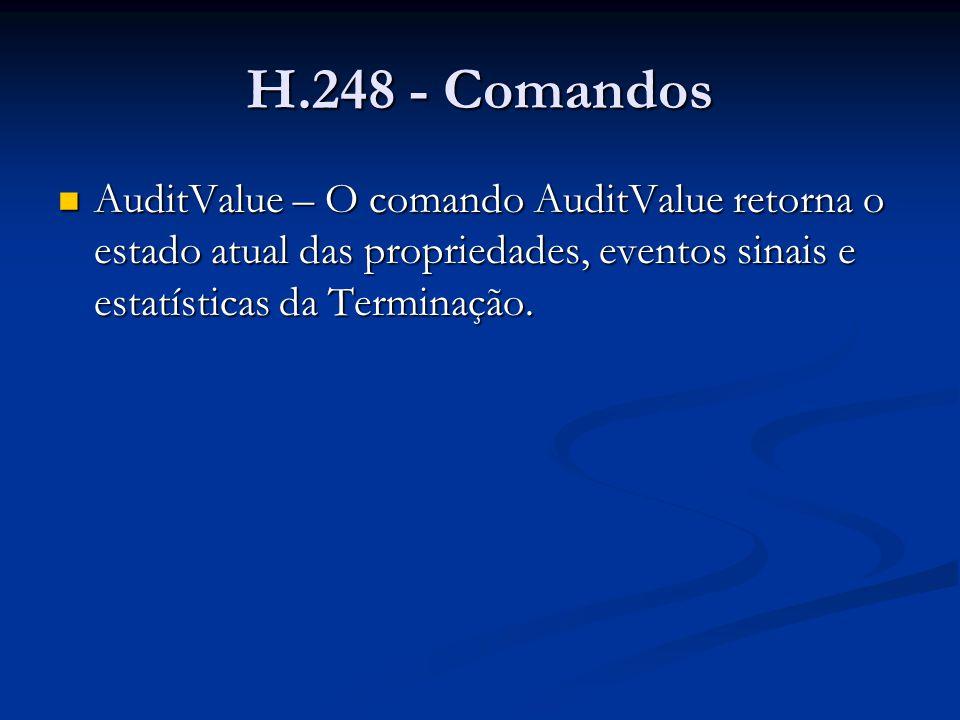 H.248 - Comandos AuditValue – O comando AuditValue retorna o estado atual das propriedades, eventos sinais e estatísticas da Terminação.