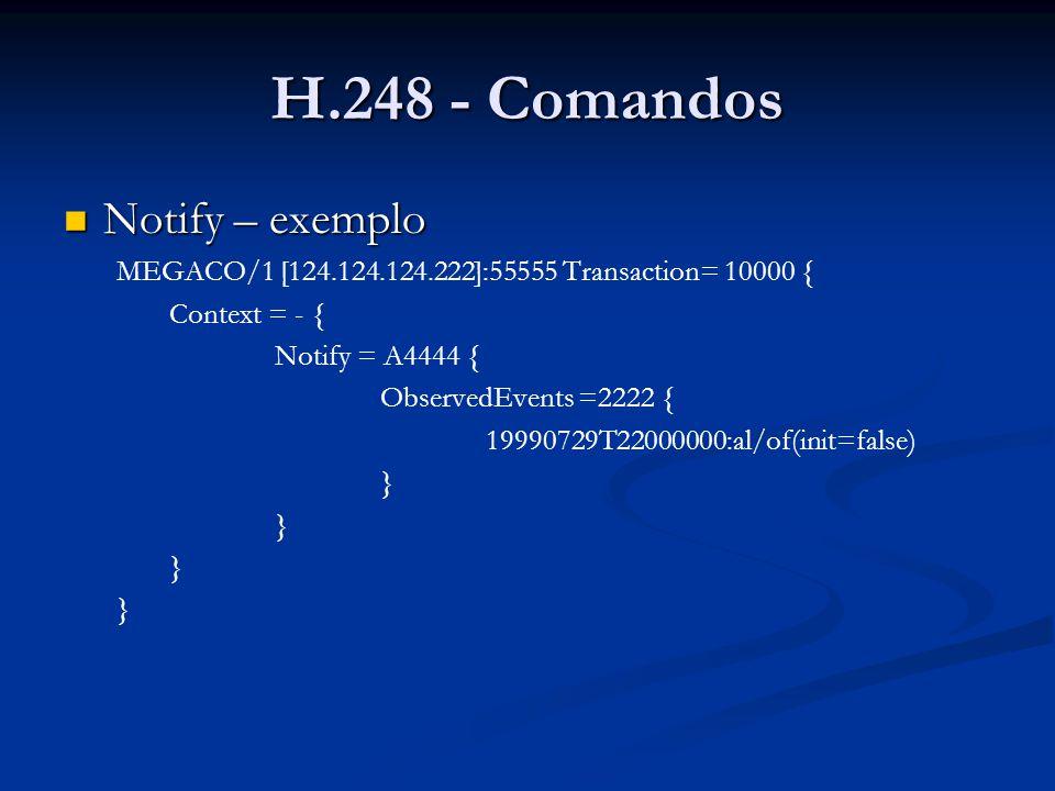 H.248 - Comandos Notify – exemplo