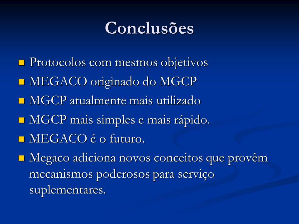 Conclusões Protocolos com mesmos objetivos MEGACO originado do MGCP