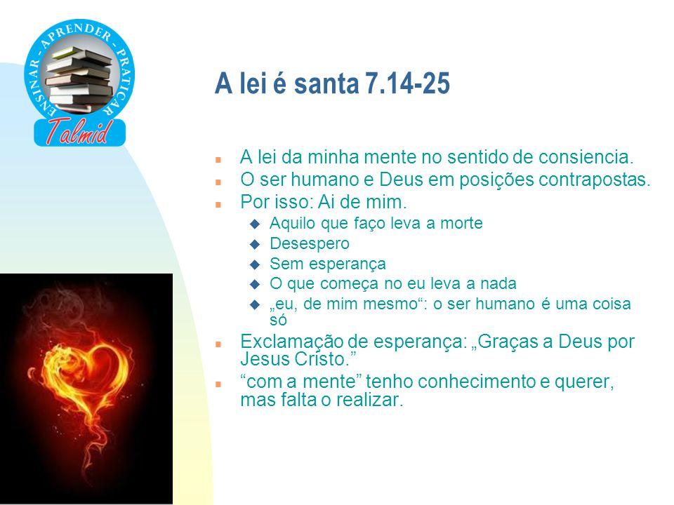 A lei é santa 7.14-25 A lei da minha mente no sentido de consiencia.