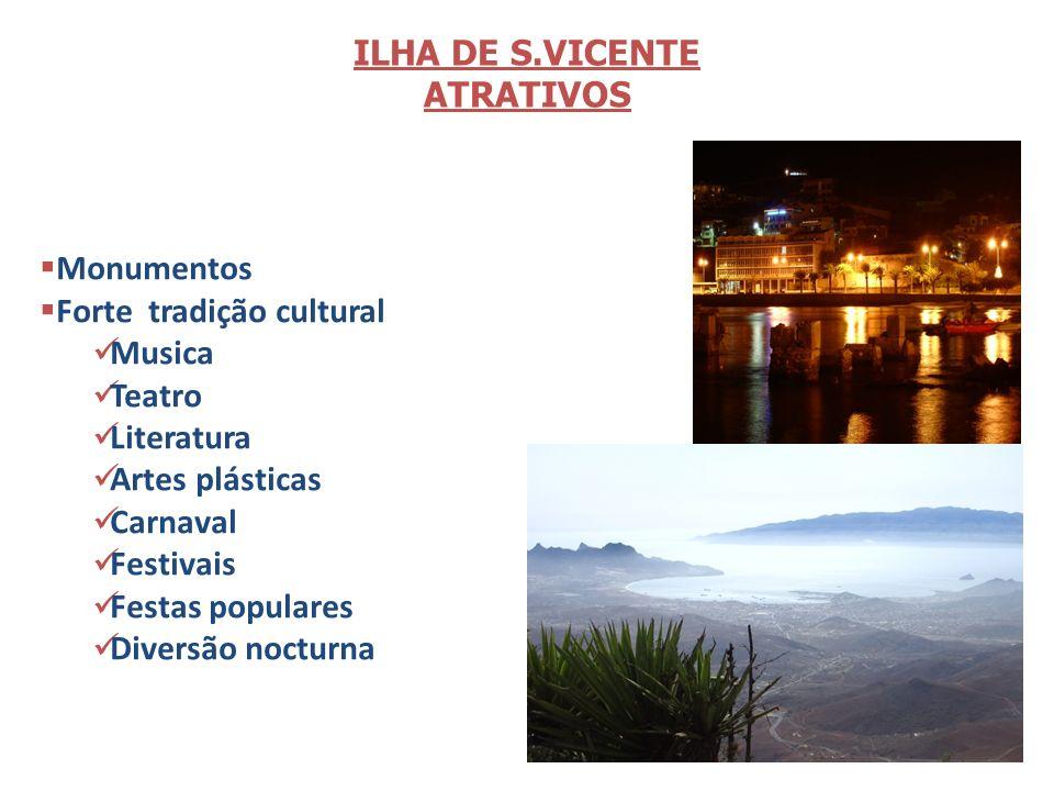 ILHA DE S.VICENTE ATRATIVOS. Monumentos. Forte tradição cultural. Musica. Teatro. Literatura.