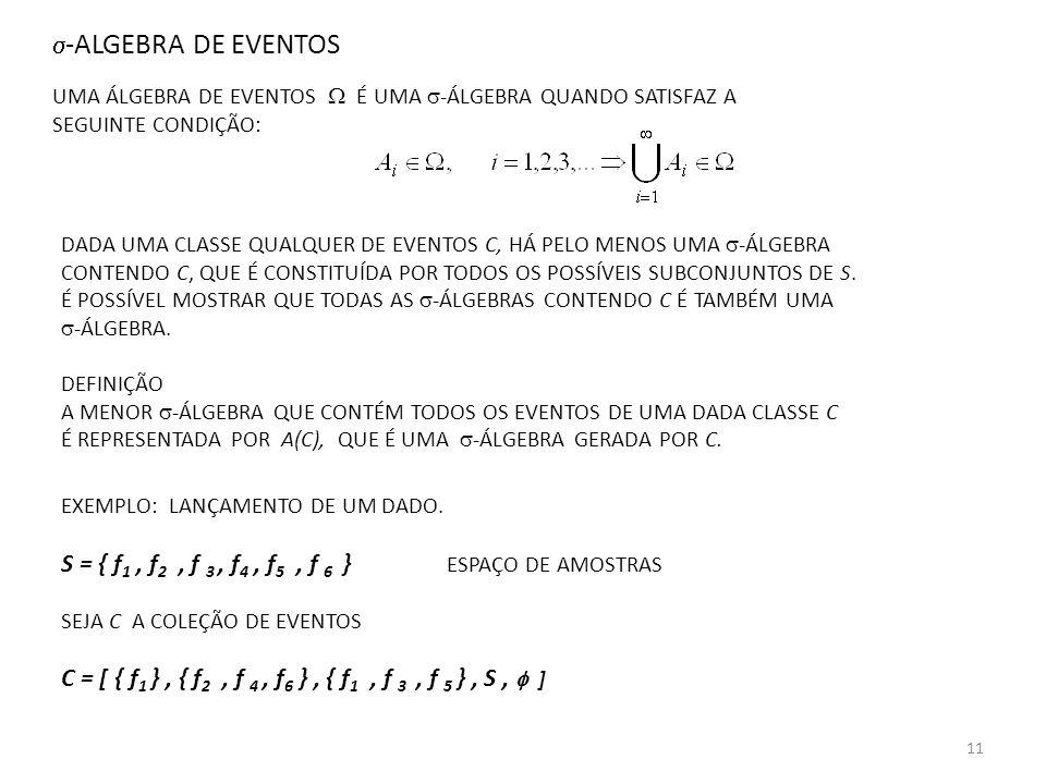S = { f1 , f2 , f 3 , f4 , f5 , f 6 } ESPAÇO DE AMOSTRAS