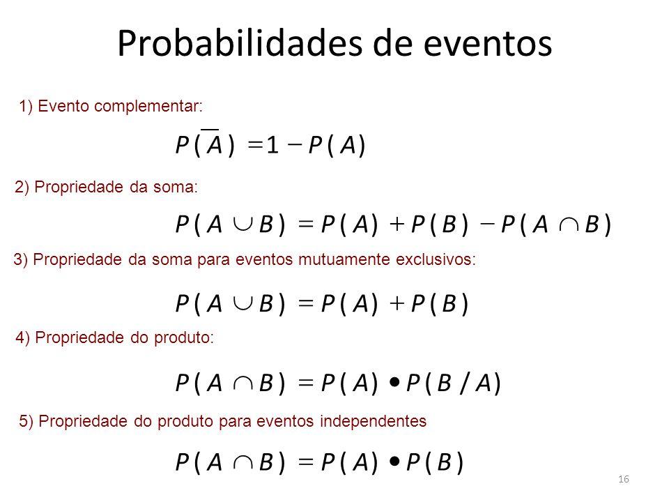 Probabilidades de eventos