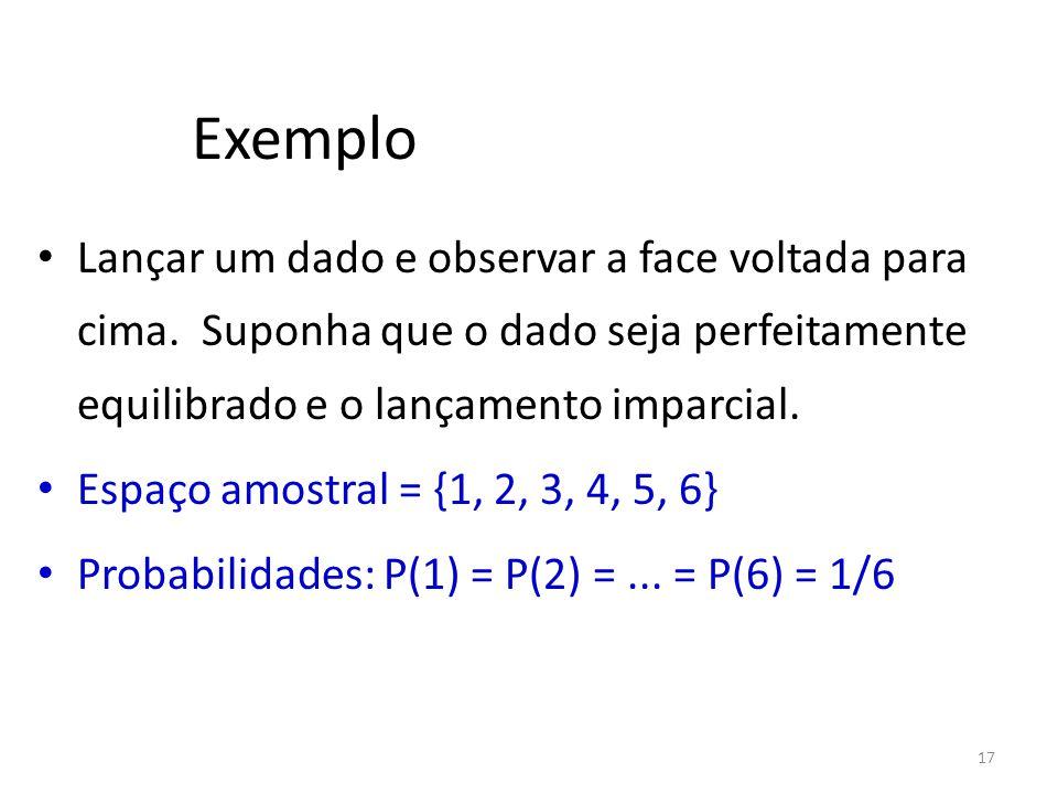 Exemplo Lançar um dado e observar a face voltada para cima. Suponha que o dado seja perfeitamente equilibrado e o lançamento imparcial.