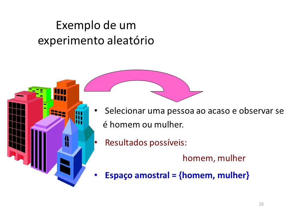 Exemplo de um experimento aleatório