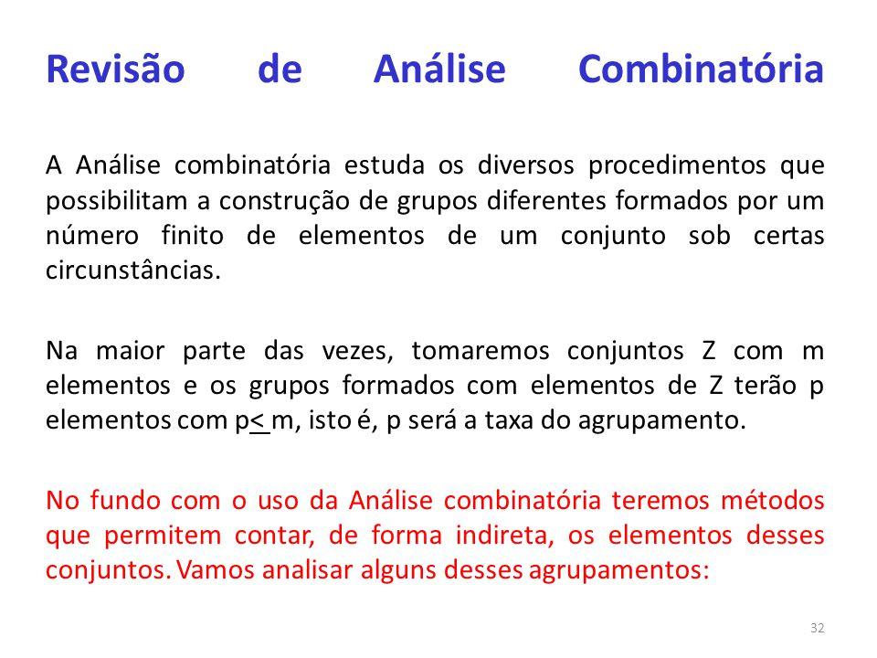 Revisão de Análise Combinatória A Análise combinatória estuda os diversos procedimentos que possibilitam a construção de grupos diferentes formados por um número finito de elementos de um conjunto sob certas circunstâncias.