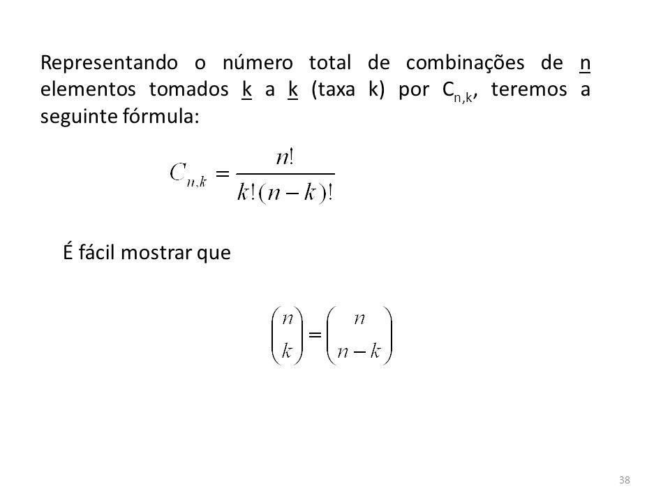 Representando o número total de combinações de n elementos tomados k a k (taxa k) por Cn,k, teremos a seguinte fórmula: