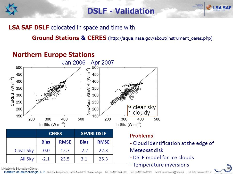  clear sky  cloudy DSLF - Validation Northern Europe Stations