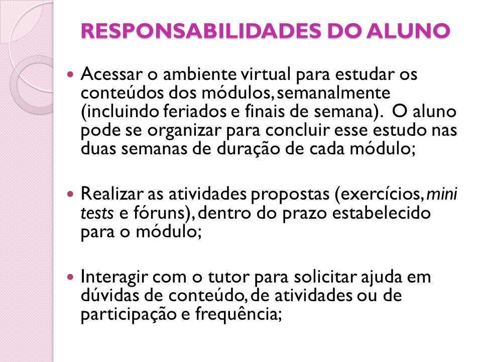 RESPONSABILIDADES DO ALUNO