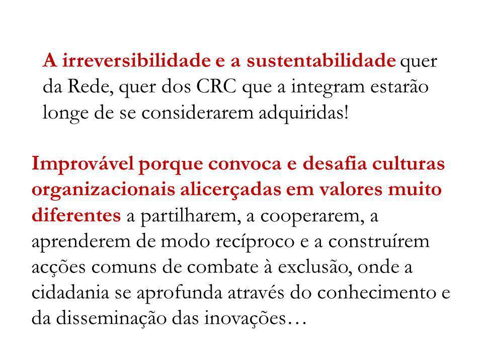 A irreversibilidade e a sustentabilidade quer da Rede, quer dos CRC que a integram estarão longe de se considerarem adquiridas!
