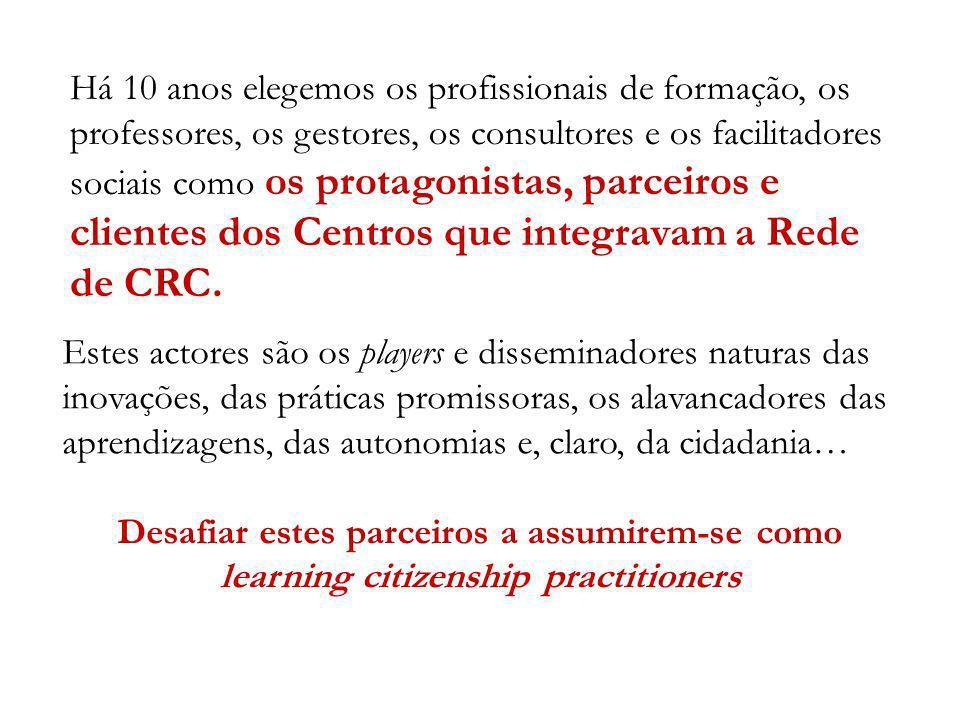 Há 10 anos elegemos os profissionais de formação, os professores, os gestores, os consultores e os facilitadores sociais como os protagonistas, parceiros e clientes dos Centros que integravam a Rede de CRC.