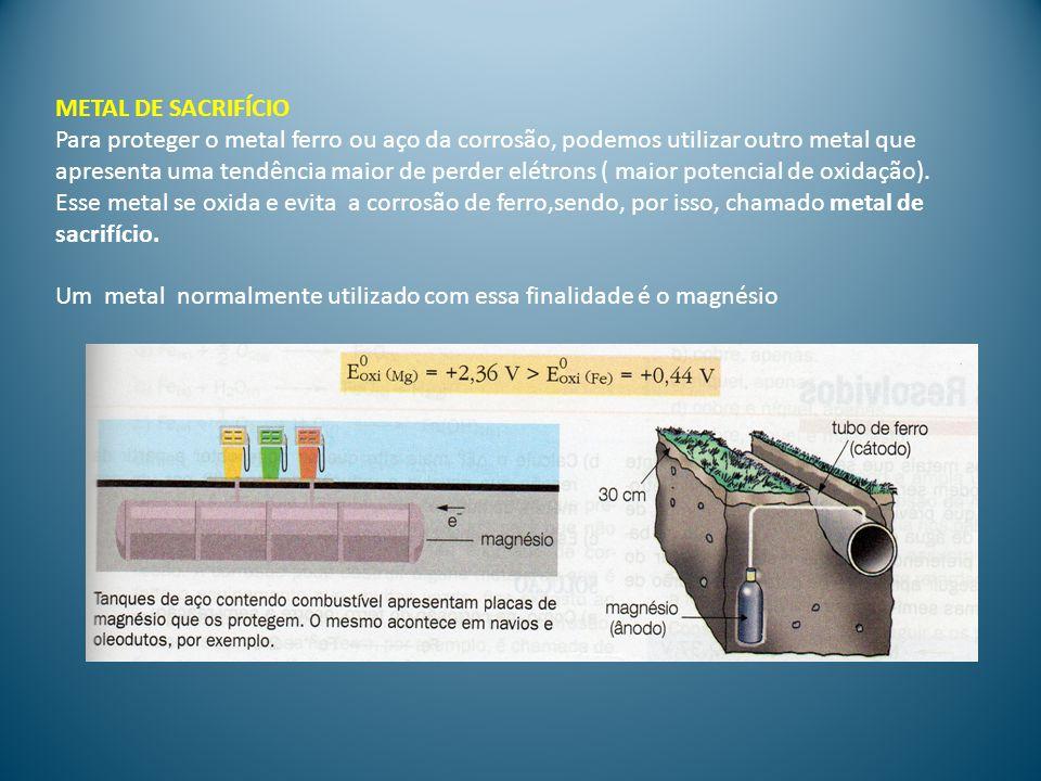 METAL DE SACRIFÍCIO Para proteger o metal ferro ou aço da corrosão, podemos utilizar outro metal que.
