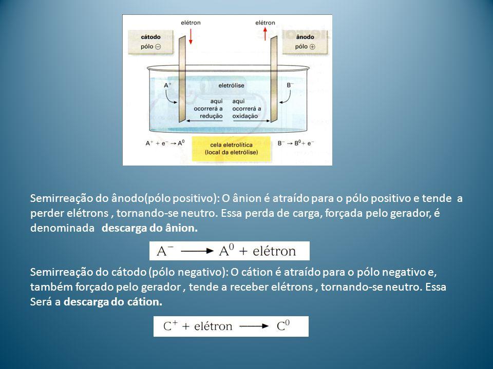 Semirreação do ânodo(pólo positivo): O ânion é atraído para o pólo positivo e tende a