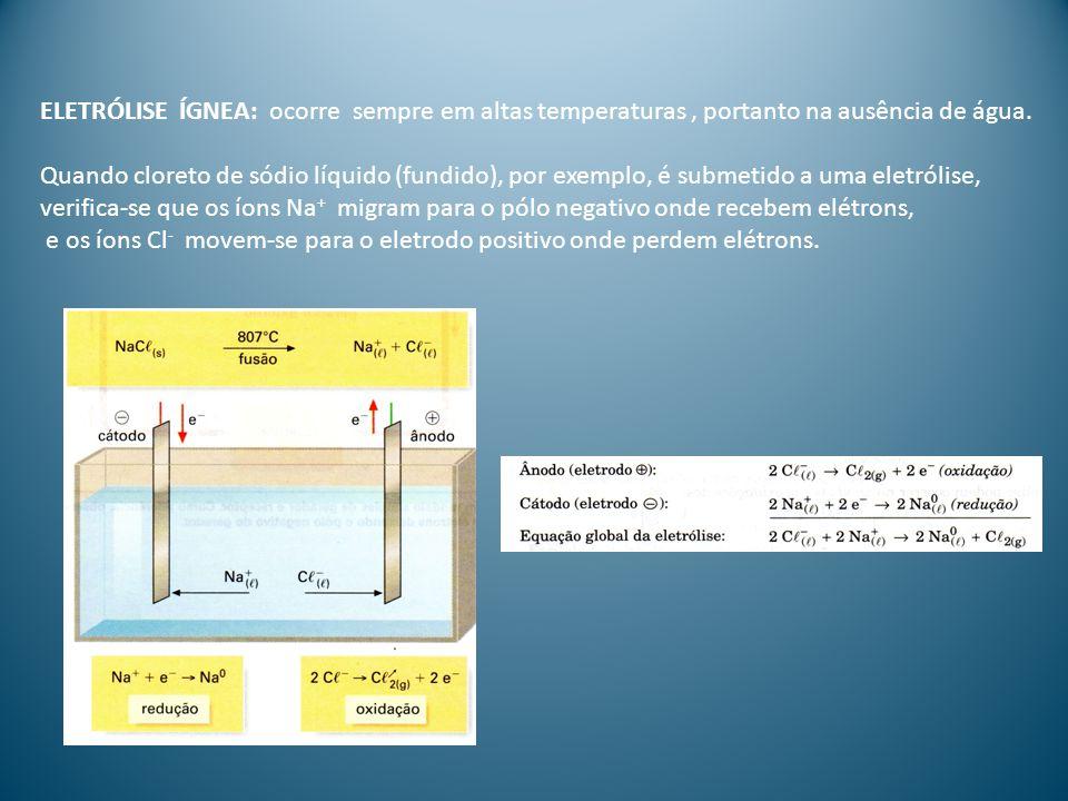 ELETRÓLISE ÍGNEA: ocorre sempre em altas temperaturas , portanto na ausência de água.