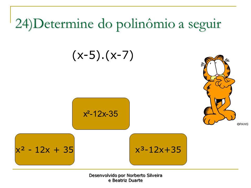 24)Determine do polinômio a seguir