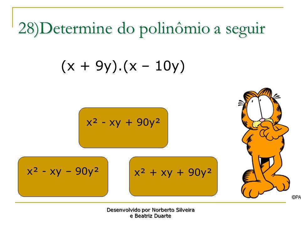 28)Determine do polinômio a seguir