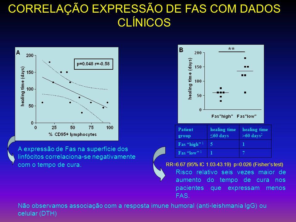 CORRELAÇÃO EXPRESSÃO DE FAS COM DADOS CLÍNICOS