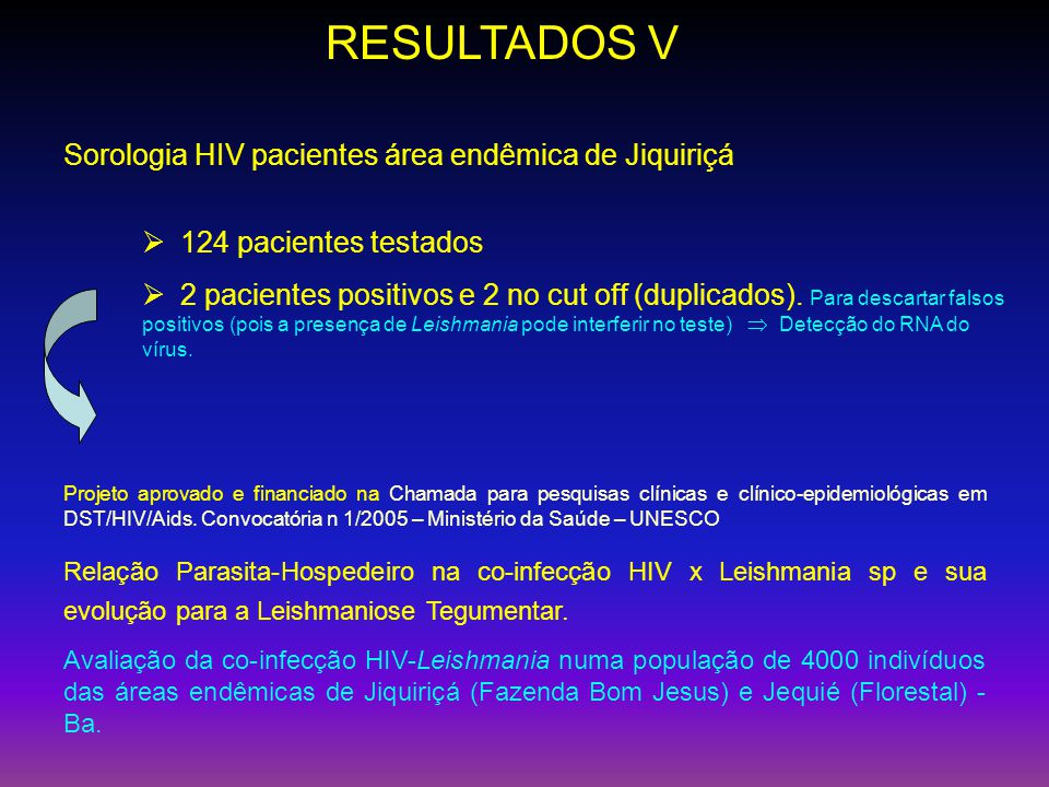 RESULTADOS V Sorologia HIV pacientes área endêmica de Jiquiriçá