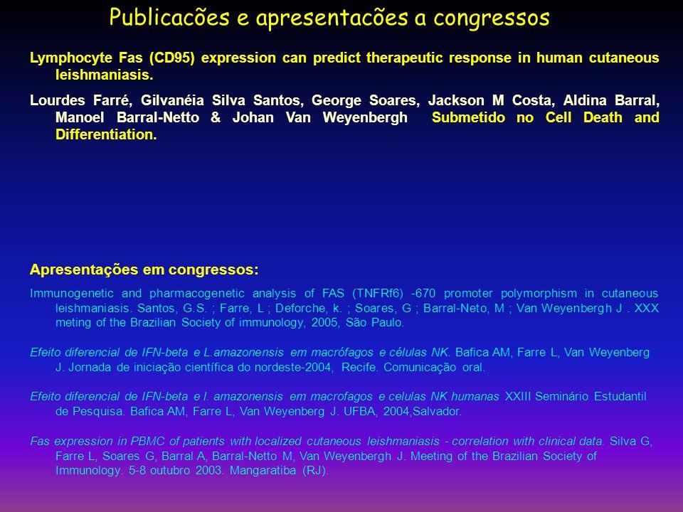 Publicacões e apresentacões a congressos