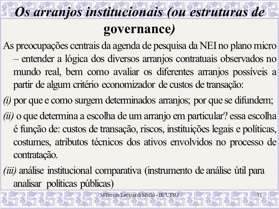 Os arranjos institucionais (ou estruturas de governance)