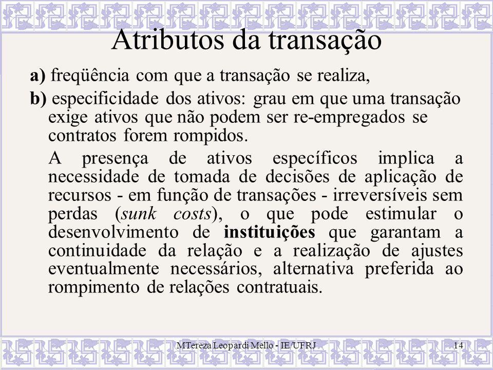 Atributos da transação