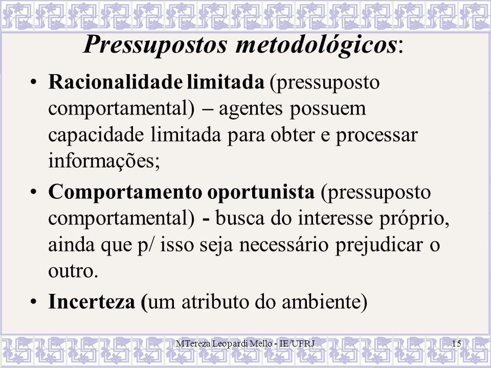 Pressupostos metodológicos: