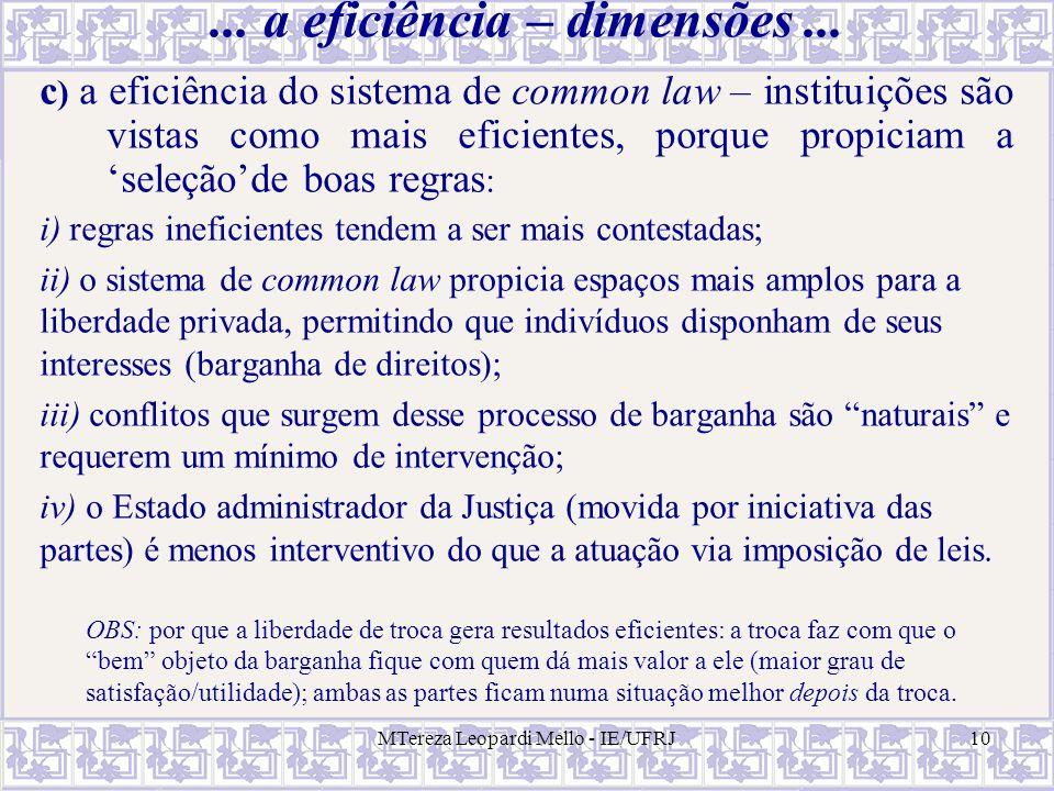 ... a eficiência – dimensões ...