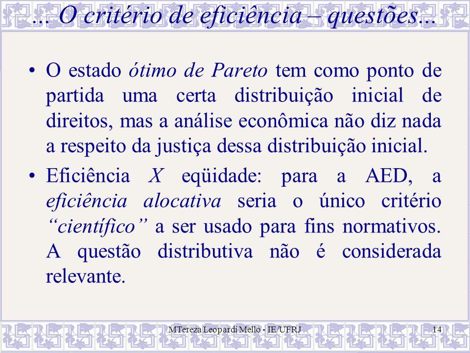 ... O critério de eficiência – questões...