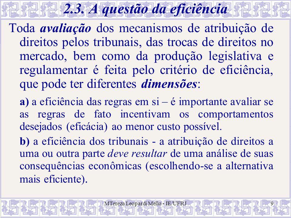 2.3. A questão da eficiência
