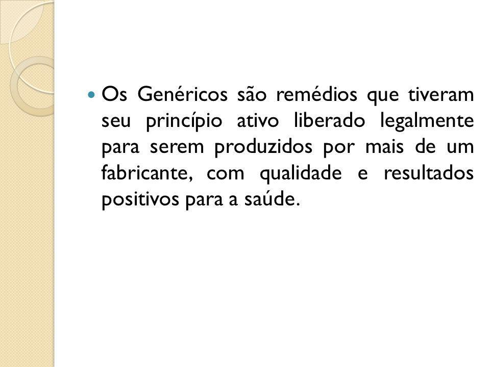 Os Genéricos são remédios que tiveram seu princípio ativo liberado legalmente para serem produzidos por mais de um fabricante, com qualidade e resultados positivos para a saúde.
