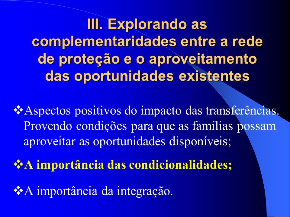 III. Explorando as complementaridades entre a rede de proteção e o aproveitamento das oportunidades existentes