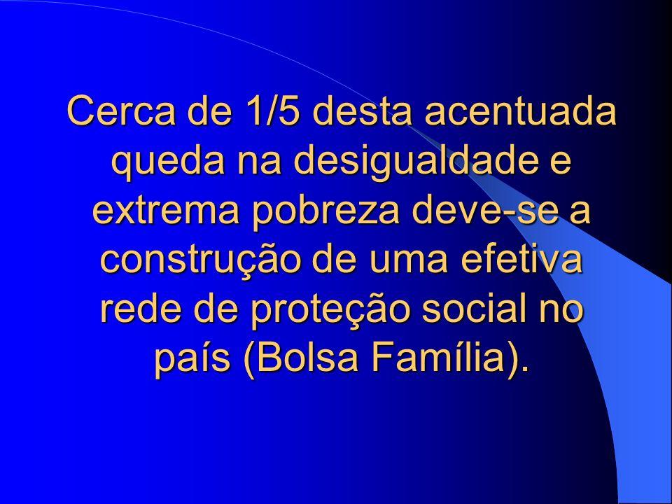 Cerca de 1/5 desta acentuada queda na desigualdade e extrema pobreza deve-se a construção de uma efetiva rede de proteção social no país (Bolsa Família).