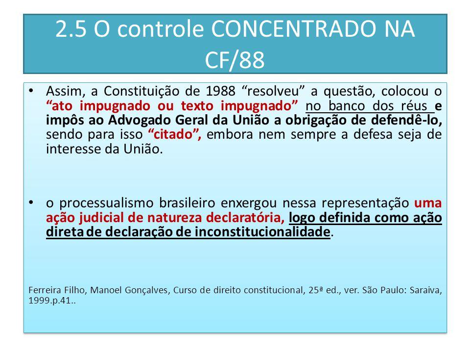 2.5 O controle CONCENTRADO NA CF/88