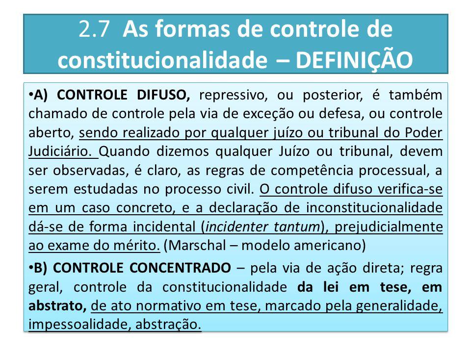 2.7 As formas de controle de constitucionalidade – DEFINIÇÃO