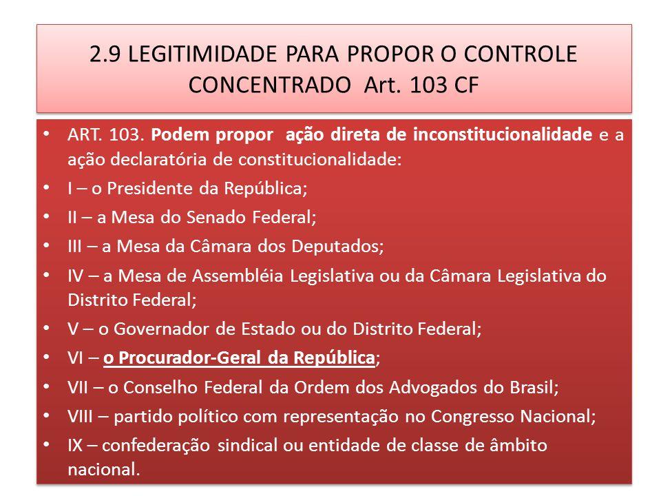 2.9 LEGITIMIDADE PARA PROPOR O CONTROLE CONCENTRADO Art. 103 CF