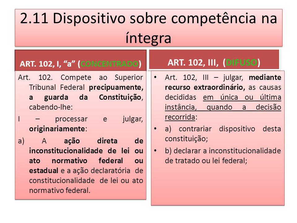 2.11 Dispositivo sobre competência na íntegra