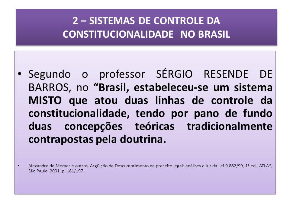 2 – SISTEMAS DE CONTROLE DA CONSTITUCIONALIDADE NO BRASIL